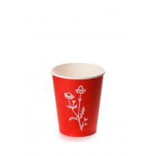 Стакан бумажный однослойный для горячих напитков, 250 мл красный