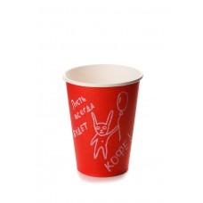 Стакан бумажный однослойный для горячих напитков, 300 мл красный