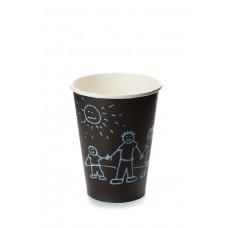 Стакан бумажный однослойный для горячих напитков, 300 мл черный