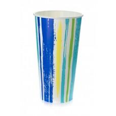 Стакан бумажный для холодных напитков 500 мл Полоски