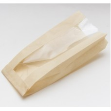 Пакет бумажный 110(50)х40х260 с окном без лого, тонированный