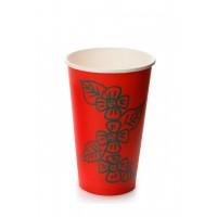 Стакан бумажный однослойный для горячих напитков, 400 мл красный